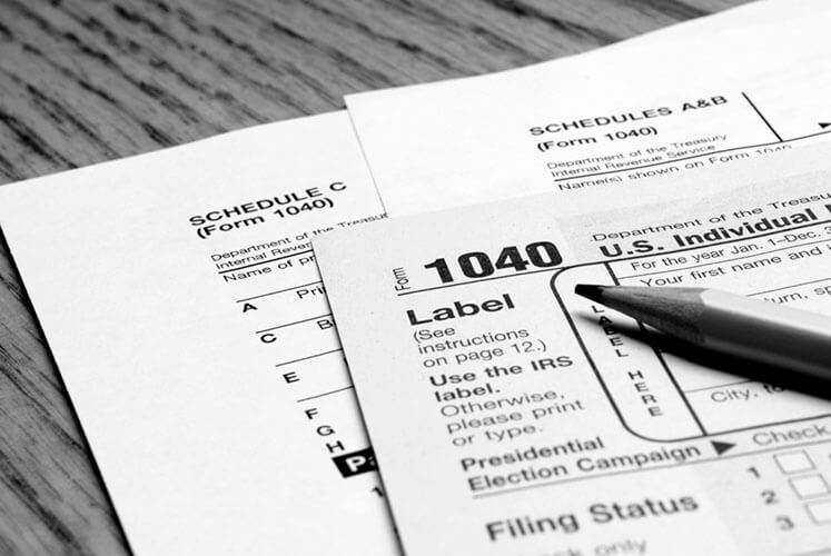 Detail closeup of current tax forms