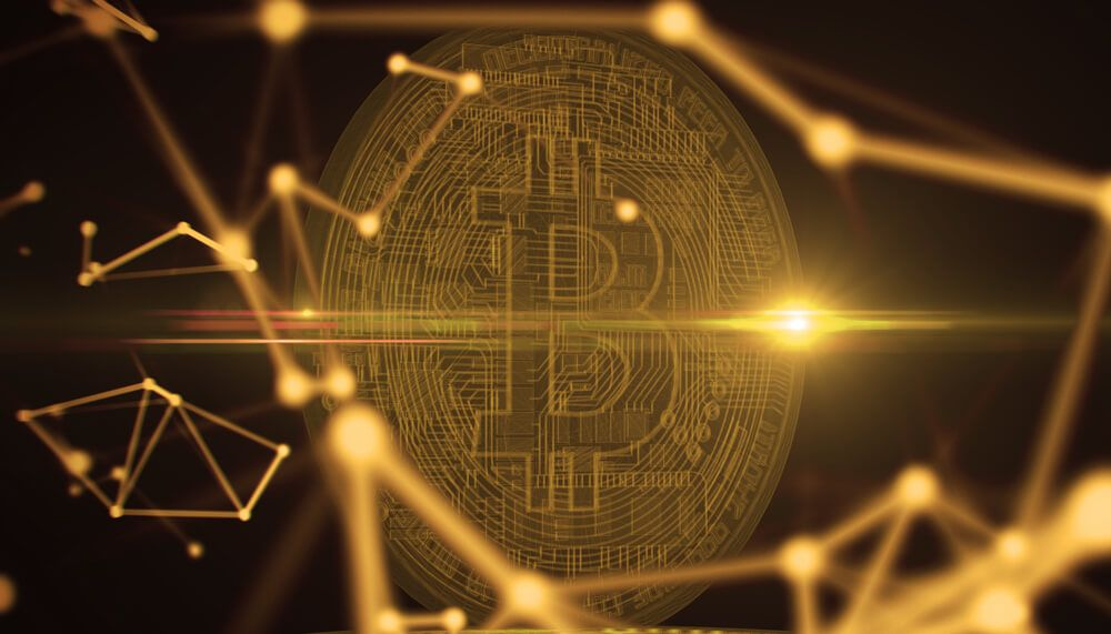 Bitcoins, new virtual money on various digital background.