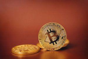 Bitcoin. Bitcoin on Golden background