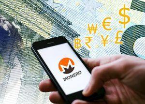 Monero logo on a mobile phone
