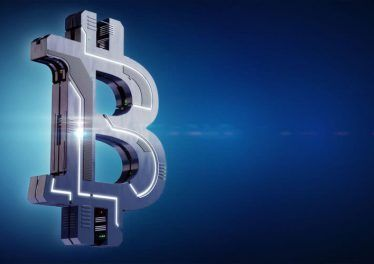 Hi-tech Bitcoin symbol on abstract background. 3D illustration. Modern money concept.
