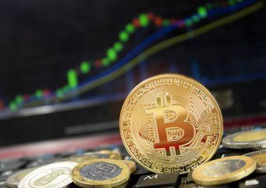 The price of bitcoin grows and soars to the heights of space, the concept