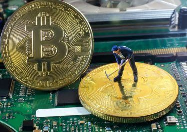 A little miner is digging for bitcoin with graphic card. conceptual image for bitcoin mining and crypto currency.