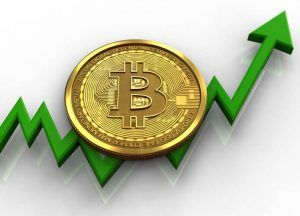 bitcoin over white background