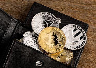 crypto currency coin in leather wallet on wide wood wooden background bitcoin ethereum litecoin iota ripple