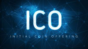 ICO initial coin offering futuristic hud background with world map and blockchain peer to peer network. Global cryptocurrency ICO coin sale event - blockchain business banner concept.