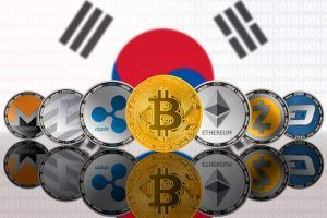 Cryptocurrencies on South Corean flag background.