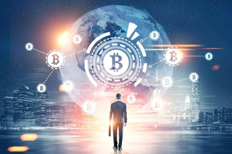 man with a suitcase looking at a bitcoin network with a bitcoin sign inside an HUD, world map.