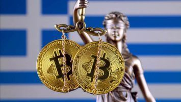 Symbol of law and justice, physical version of Bitcoin and Greece Flag. Prohibition of cryptocurrencies, regulations, restrictions or security, protection, privacy.