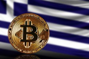 gold coin bitcoin on a background of a flag Greece