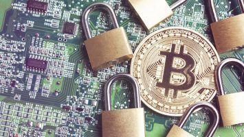 bitcoin security concept. Gold coin with padlock.