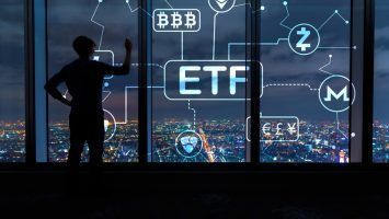 Cryptocurrency ETF theme with man writing on large windows high above a sprawling city at night
