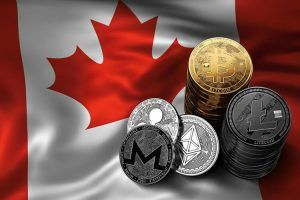 Stack of Bitcoin, Ethereum, Litecoin, Ripple and Monero coins on Canadian flag. Situation of Bitcoin and other cryptocurrencies in Canada concept. 3D Rendering