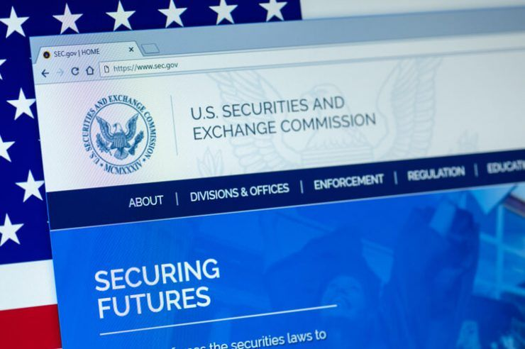 Website of U.S. Securities and Exchange Commission displayed on the computer screen. SEC is an independent agency of the United States federal government.
