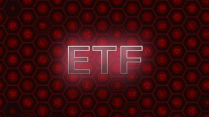 ETF on red cryptocurrency background.