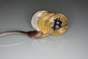 golden and silver bitcoins and fork