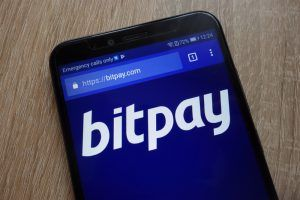 BitPay website displayed on a modern smartphone
