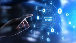 Lightning network communication in cryptocurrency technology. Bitcoin and internet payment concept on virtual screen.