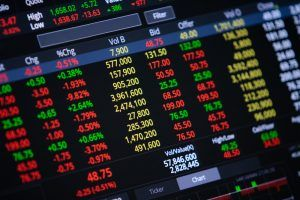 close up stock chart and data market exchange on LED display.