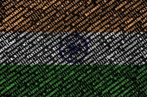 India flag is depicted on the screen with the program code.