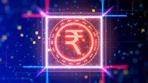 Indian rupee currency logo sign. Financial sign of india money on digital background.