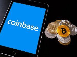Coinbase logo on a phone screen.