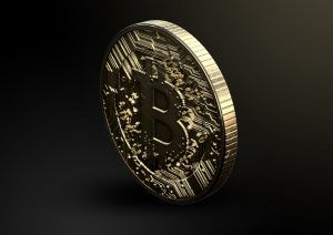 Bitcoin on black background.