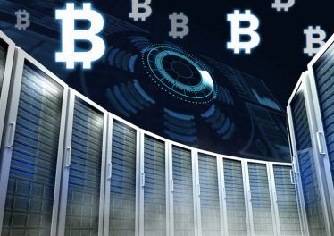 Digital composite of Computer servers and bitcoin technology information interface