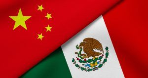 Chinese and Mexican flags.