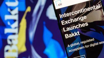 Website of Intercontinental Exchange NYSE ICE with announcement of launching Bakkt - open and regulated crypto platform and global ecosystem for digital assets