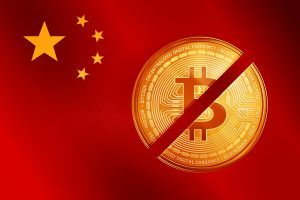Crossed out golden bitcoin coin on the China flag