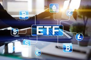 Bitcoin ETF. Exchange traded fund and cryptocurrency concept on virtual screen.