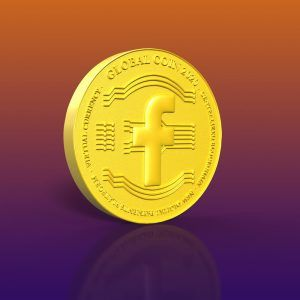 Gold coin on an orange and purple gradient background with a global coin 2020 concept and Facebook icon as cryptocurrency becomes mainstream