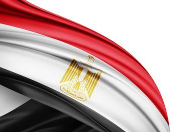 Egypt flag of silk with copyspace for your text or images and white background