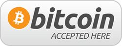 Bitcoins accepted here - logo