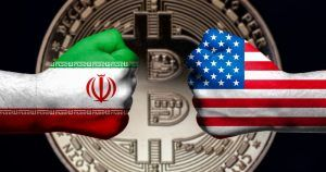 Flags of USA and Iran painted on two clenched fists facing each other with bitcoin in the background Iran USA conflict concept