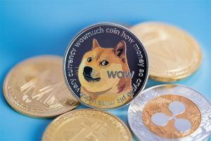 An image featuring multiple crypto coins and in the middle the Dogecoin is standing
