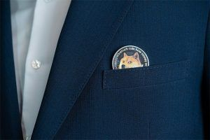 An image featuring a Dogecoin in a pocket of a blue suit
