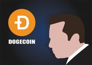 An image featuring a drawn person that has the dogecoin logo and text next to him representing dogecoin concept