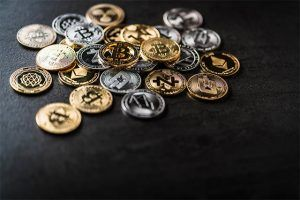 An image featuring cryptocurrency coins
