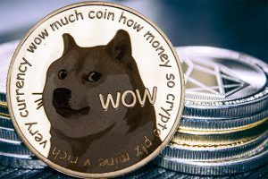An image featuring the Dogecoin with other coins behind it