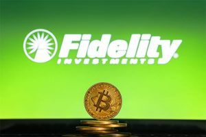 An image featuring Fidelity Investments with bitcoin in front of it