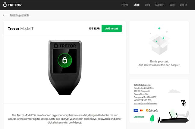 An image featuring the Trezor Model T homepage