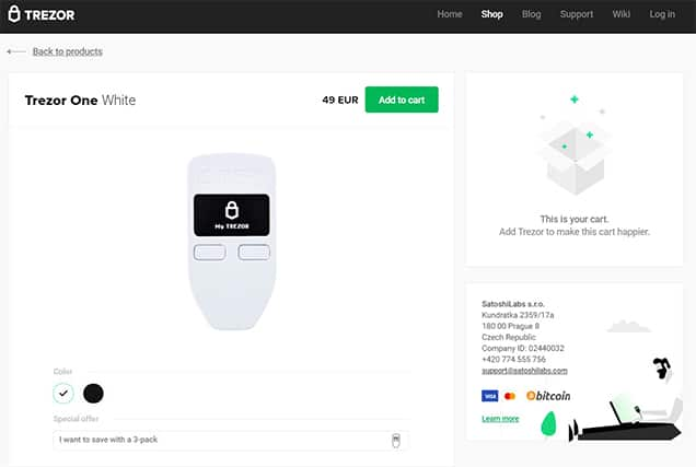 An image featuring the Trezor One Wallet homepage