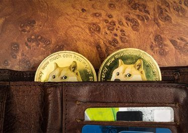 An image featuring a wallet that has two dogecoins popping out of it representing dogecoin wallet concept
