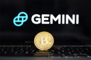 An image featuring the Gemini LLC logo and text with a bitcoin in front of it